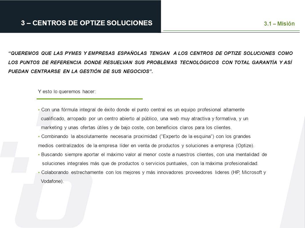 3 – CENTROS DE OPTIZE SOLUCIONES QUEREMOS QUE LAS PYMES Y EMPRESAS ESPAÑOLAS TENGAN A LOS CENTROS DE OPTIZE SOLUCIONES COMO LOS PUNTOS DE REFERENCIA D