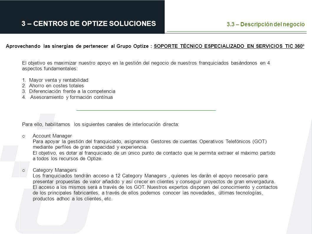 3 – CENTROS DE OPTIZE SOLUCIONES 3.3 – Descripción del negocio Aprovechando las sinergias de pertenecer al Grupo Optize : SOPORTE TÉCNICO ESPECIALIZAD