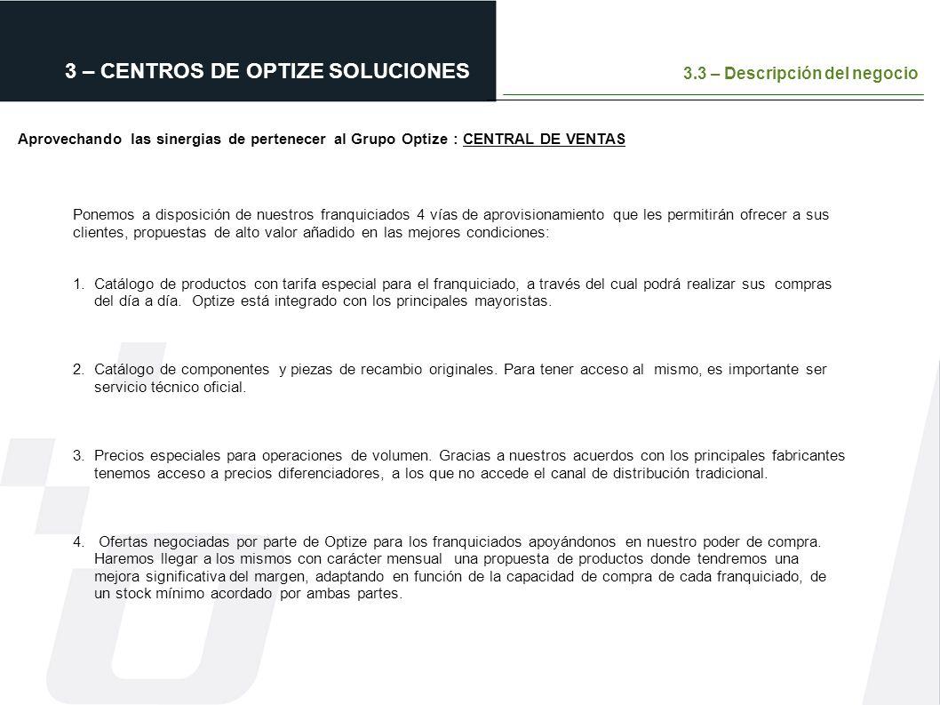 3 – CENTROS DE OPTIZE SOLUCIONES 3.3 – Descripción del negocio Aprovechando las sinergias de pertenecer al Grupo Optize : CENTRAL DE VENTAS mismos ser