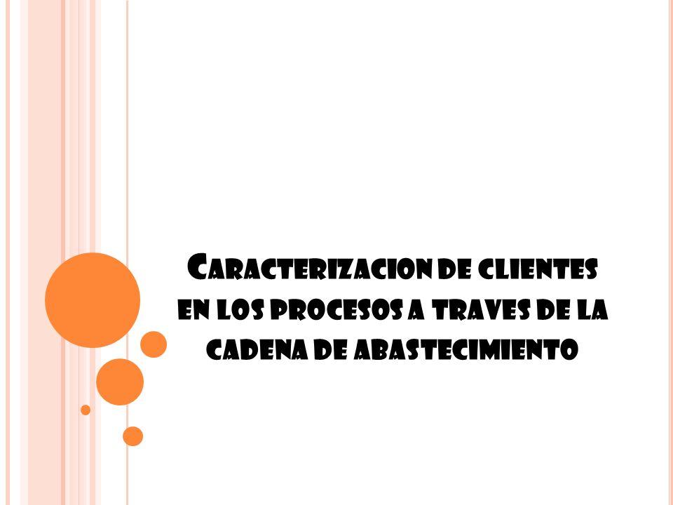 C ARACTERIZACION DE CLIENTES EN LOS PROCESOS A TRAVES DE LA CADENA DE ABASTECIMIENTO