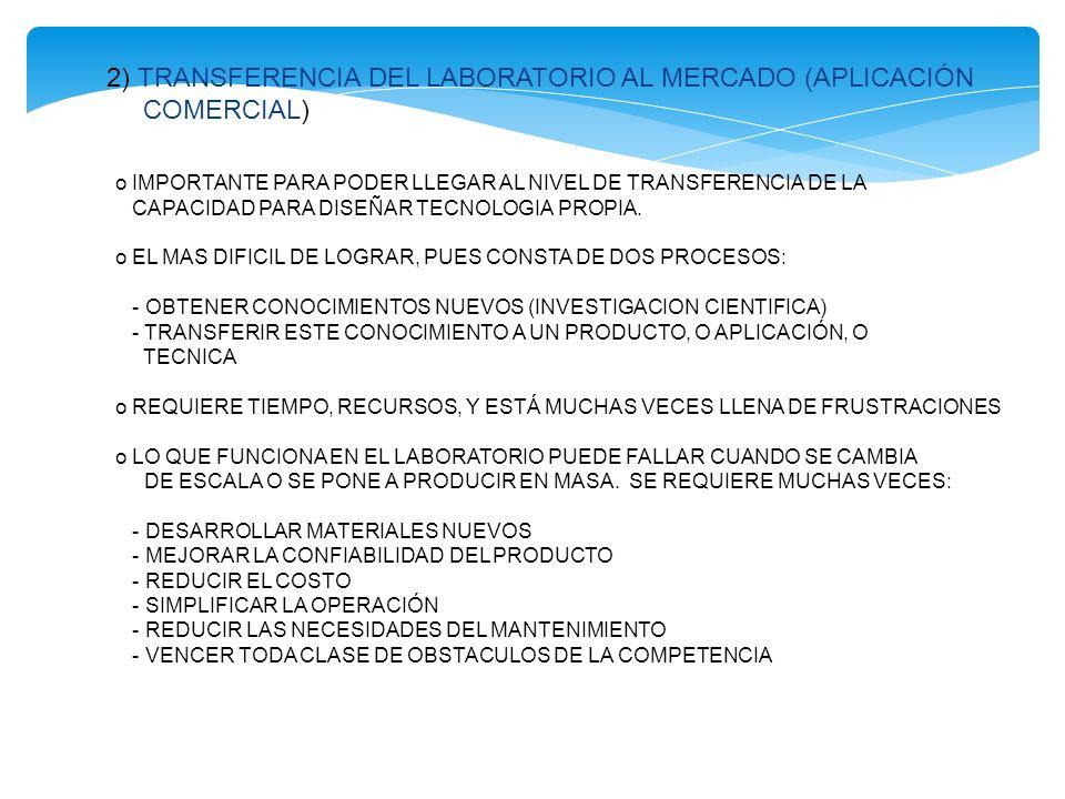 2) TRANSFERENCIA DEL LABORATORIO AL MERCADO (APLICACIÓN COMERCIAL) o IMPORTANTE PARA PODER LLEGAR AL NIVEL DE TRANSFERENCIA DE LA CAPACIDAD PARA DISEÑ