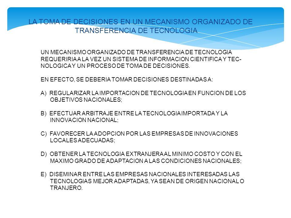 POR LO TANTO LA ORGANIZACIÓN DE UN MECANISMO DE TRANSFERENCIA DE TECNOLOGIA SERIA FUNCION DE NUMEROSOS FACTORES, VARIABLES DE PAIS A PAIS, POR EJEMPLO: LA DOSIFICACION DE ACUERDO A LA CUAL EL GOBIERNO DESEARIA REGULARIZAR LA IMPORTACION DE TECNOLOGIA.