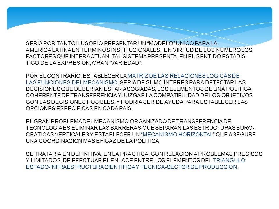 EVALUACION DE LA TECNOLOGIA CONSTITUYE EL PUNTO ESTRATEGICO DEL MECANISMO DE TRANSFERENCIA-DESARROLLO DE LA TECNOLOGIA.