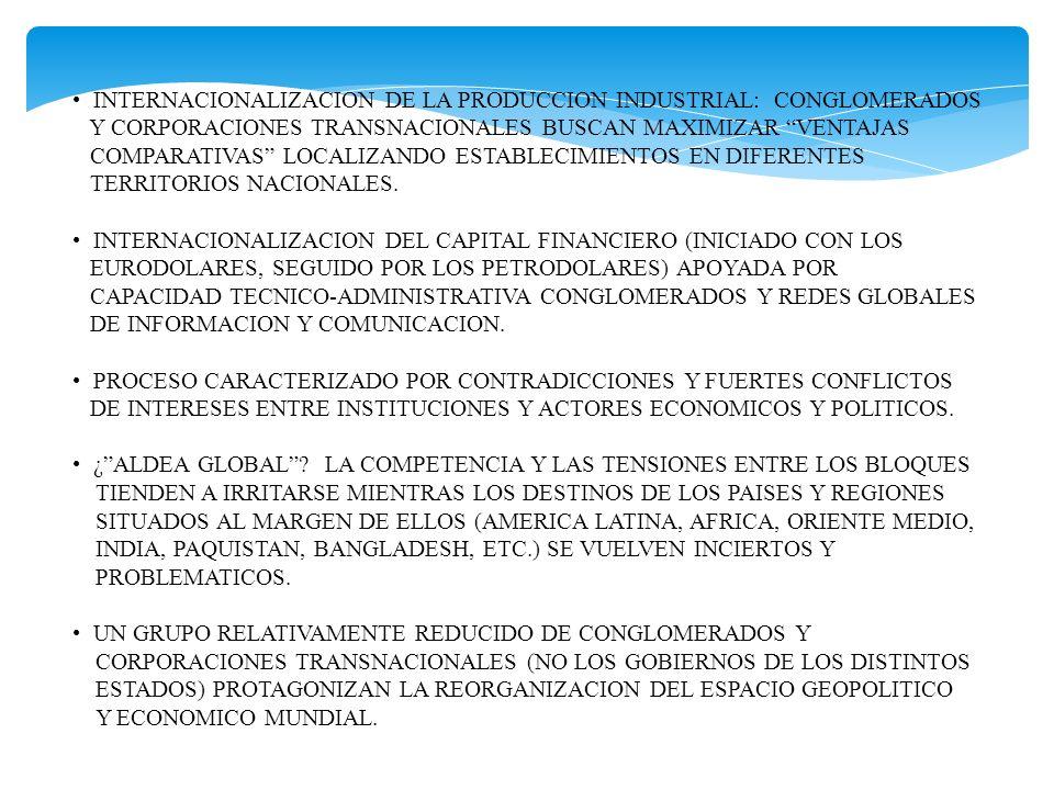 INTERNACIONALIZACION DE LA PRODUCCION INDUSTRIAL: CONGLOMERADOS Y CORPORACIONES TRANSNACIONALES BUSCAN MAXIMIZAR VENTAJAS COMPARATIVAS LOCALIZANDO EST