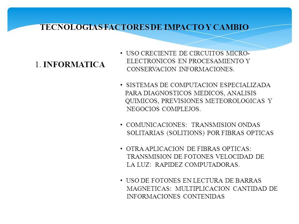 TECNOLOGIAS FACTORES DE IMPACTO Y CAMBIO 1. INFORMATICA USO CRECIENTE DE CIRCUITOS MICRO- ELECTRONICOS EN PROCESAMIENTO Y CONSERVACION INFORMACIONES.