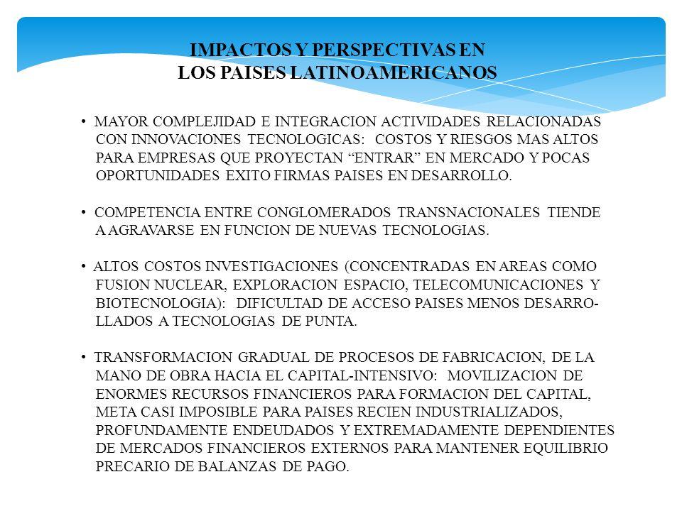 IMPACTOS Y PERSPECTIVAS EN LOS PAISES LATINOAMERICANOS MAYOR COMPLEJIDAD E INTEGRACION ACTIVIDADES RELACIONADAS CON INNOVACIONES TECNOLOGICAS: COSTOS