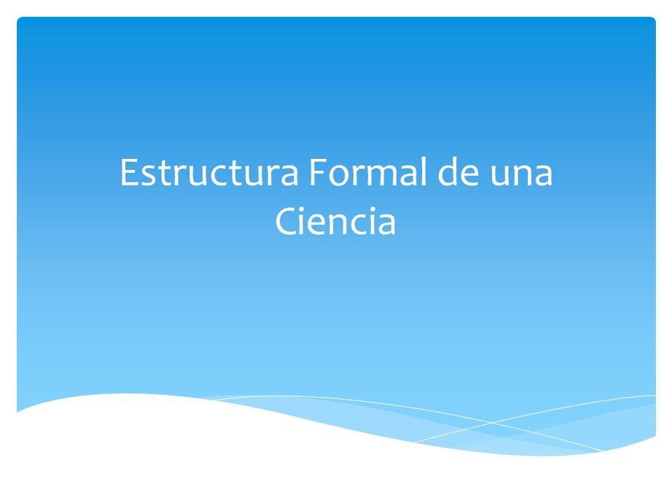 ESTRUCTURA FORMAL DE UNA CIENCIA NIVEL 1: NIVEL EPISTEMOLOGICO NIVEL 2: NIVEL TEORICO NIVEL 3: NIVEL METODOLOGICO NIVEL 4: NIVEL TECNICO FORMULA UNA CONCEPCION DE LA REALIDAD QUE ESTUDIA ESA DISCIPLINA FORMULA EXPLICACIONES DEFINE PROCEDIMIENTOS DE INVESTIGACION MANIPULA LA REALIDAD