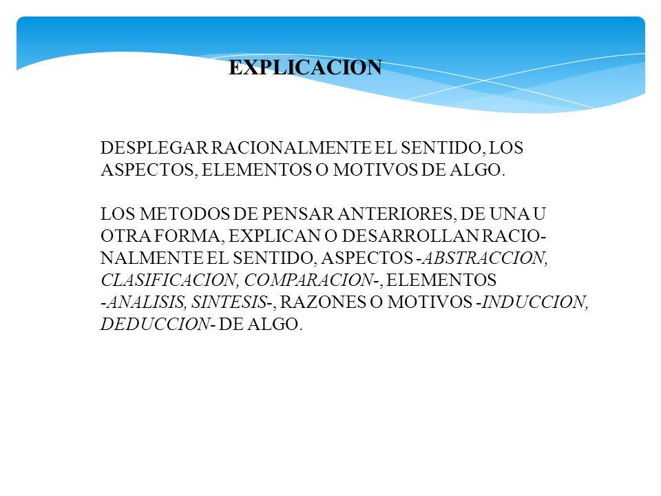 EXPLICACION DESPLEGAR RACIONALMENTE EL SENTIDO, LOS ASPECTOS, ELEMENTOS O MOTIVOS DE ALGO. LOS METODOS DE PENSAR ANTERIORES, DE UNA U OTRA FORMA, EXPL