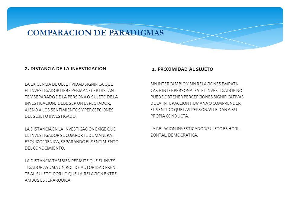 COMPARACION DE PARADIGMAS 2. DISTANCIA DE LA INVESTIGACION LA EXIGENCIA DE OBJETIVIDAD SIGNIFICA QUE EL INVESTIGADOR DEBE PERMANECER DISTAN- TE Y SEPA