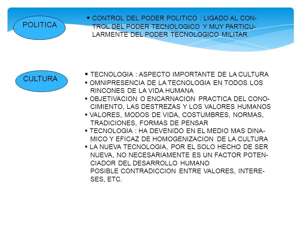 POLITICA CONTROL DEL PODER POLITICO : LIGADO AL CON- TROL DEL PODER TECNOLOGICO Y MUY PARTICU- LARMENTE DEL PODER TECNOLOGICO MILITAR CULTURA TECNOLOG
