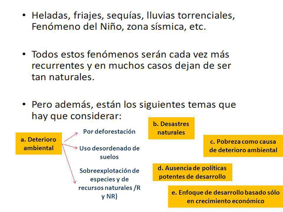 a. Deterioro ambiental Por deforestación Uso desordenado de suelos Sobreexplotación de especies y de recursos naturales /R y NR) b. Desastres naturale
