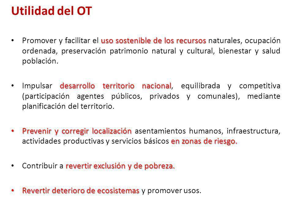 Utilidad del OT uso sostenible de los recursos Promover y facilitar el uso sostenible de los recursos naturales, ocupación ordenada, preservación patr