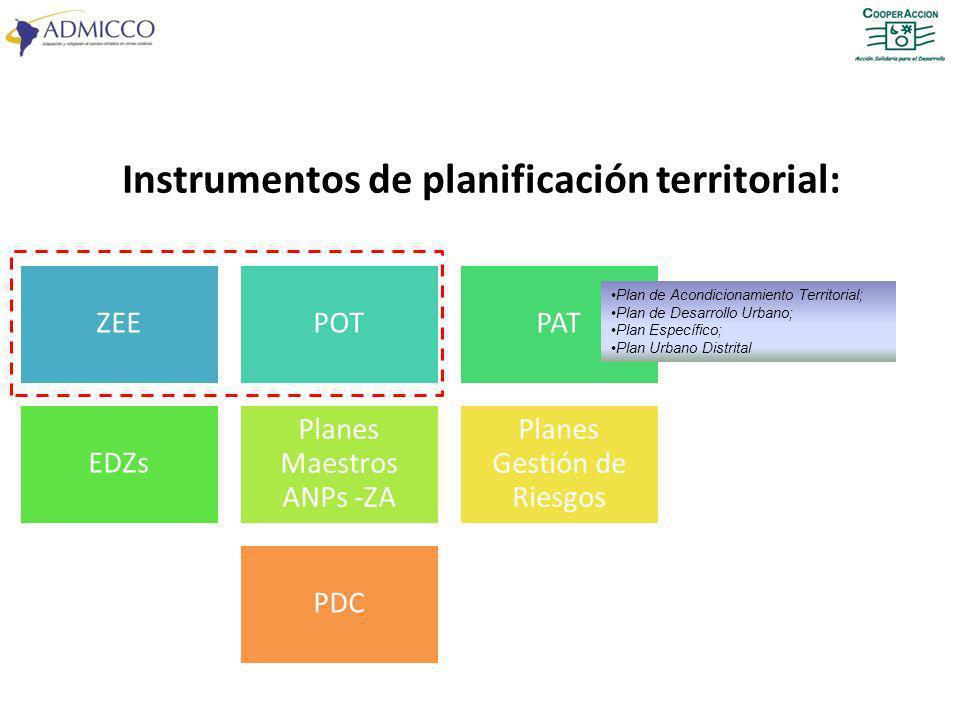 ZEEPOTPAT EDZs Planes Maestros ANPs -ZA Planes Gestión de Riesgos PDC Instrumentos de planificación territorial: Plan de Acondicionamiento Territorial