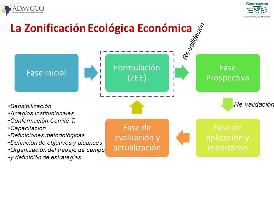 Fase inicial Formulación (ZEE) Fase Prospectiva Fase de aplicación y monitoreo Fase de evaluación y actualización Sensibilización Arreglos Institucion