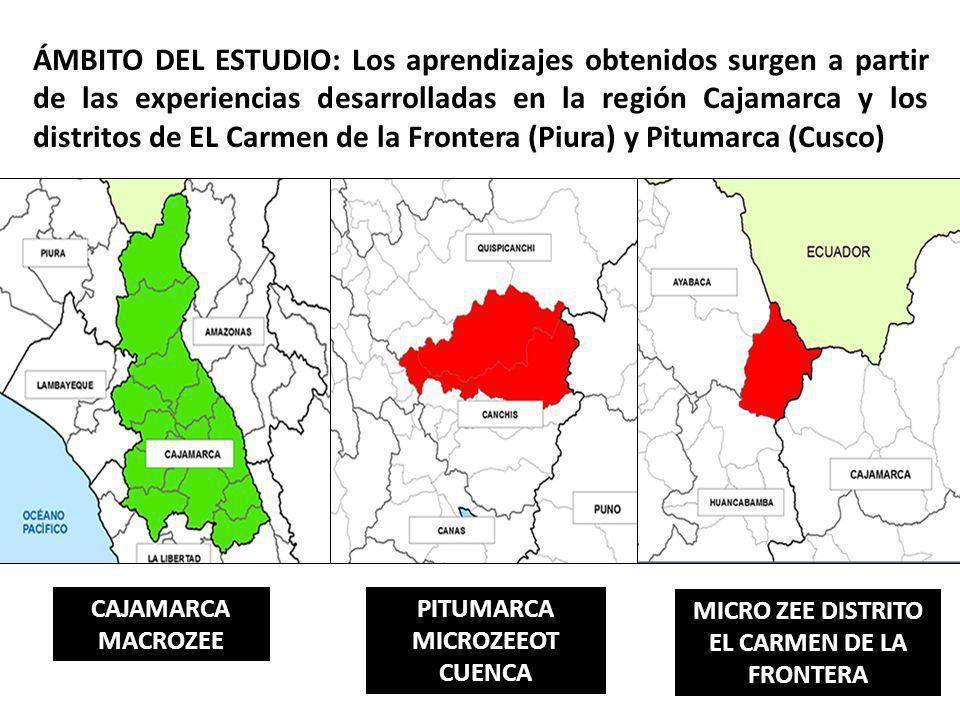 ÁMBITO DEL ESTUDIO: Los aprendizajes obtenidos surgen a partir de las experiencias desarrolladas en la región Cajamarca y los distritos de EL Carmen d