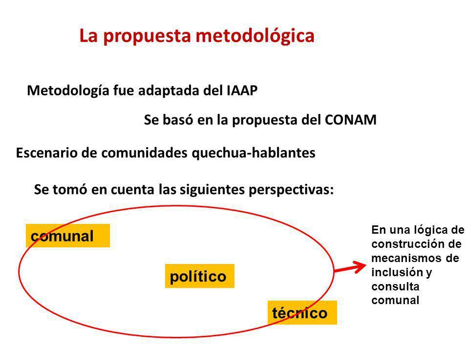 La propuesta metodológica Metodología fue adaptada del IAAP Se basó en la propuesta del CONAM Escenario de comunidades quechua-hablantes Se tomó en cu