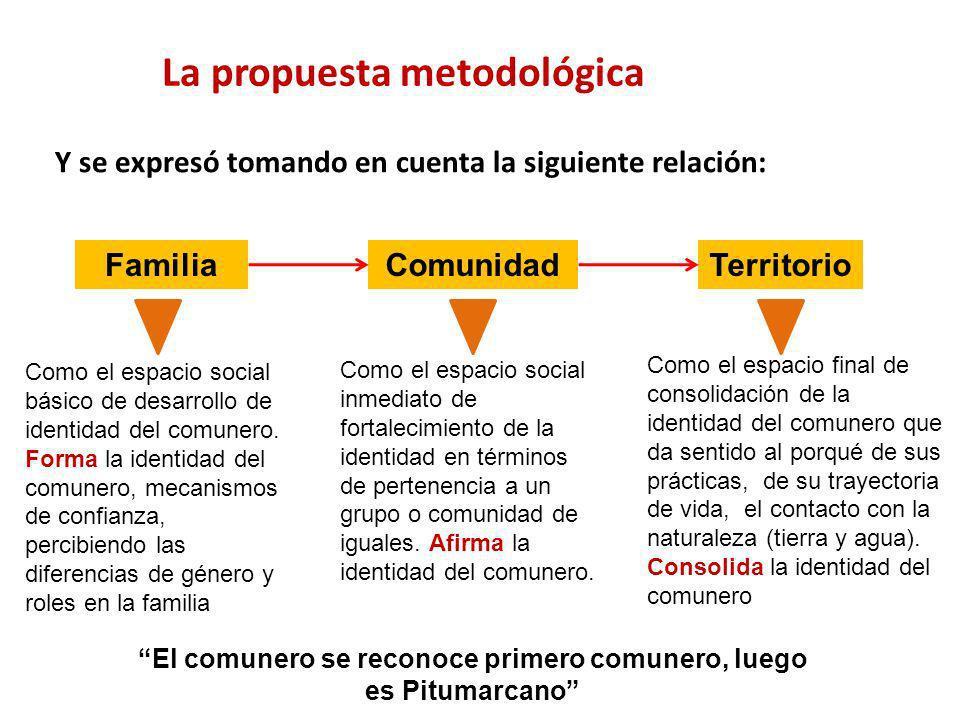 La propuesta metodológica Y se expresó tomando en cuenta la siguiente relación: FamiliaComunidadTerritorio Como el espacio social básico de desarrollo