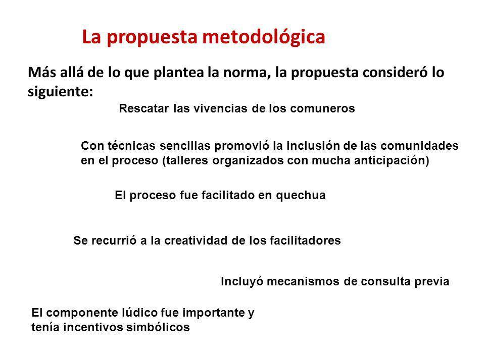 La propuesta metodológica Más allá de lo que plantea la norma, la propuesta consideró lo siguiente: Rescatar las vivencias de los comuneros Con técnic