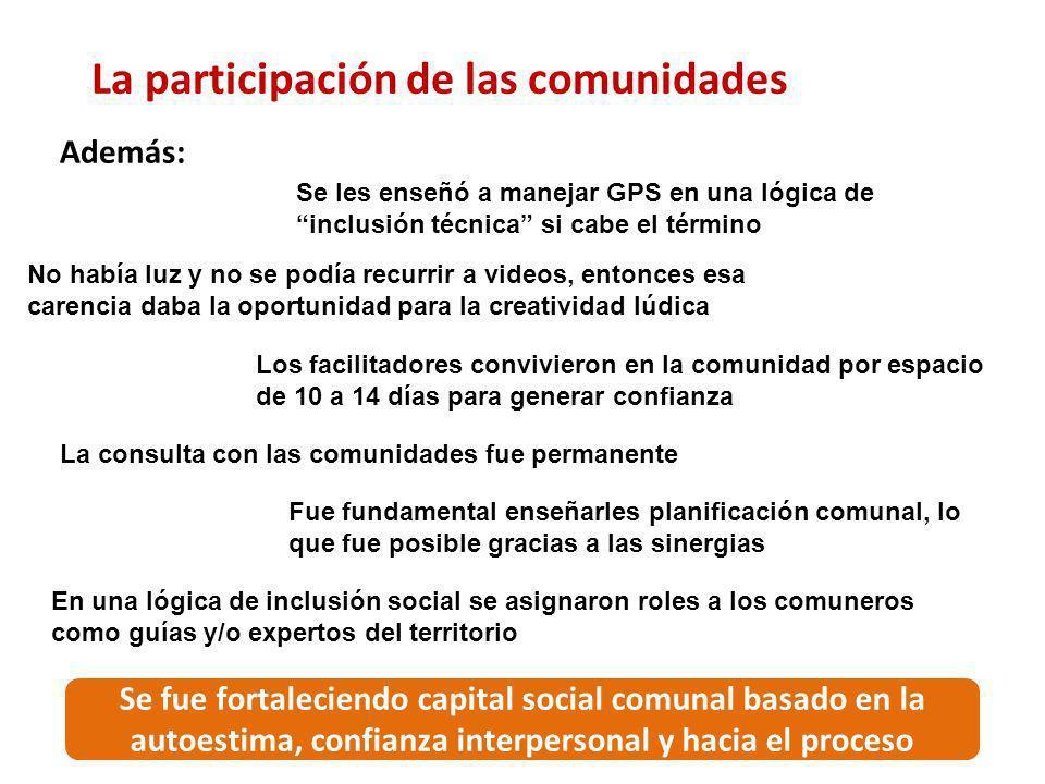 La participación de las comunidades Además: Se les enseñó a manejar GPS en una lógica de inclusión técnica si cabe el término No había luz y no se pod