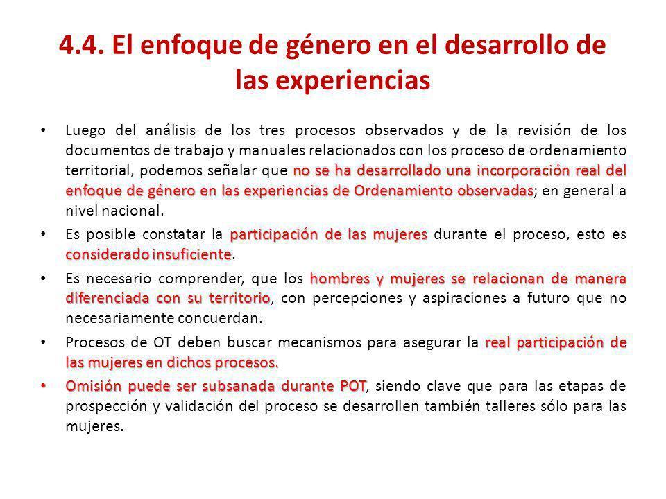 4.4. El enfoque de género en el desarrollo de las experiencias no se ha desarrollado una incorporación real del enfoque de género en las experiencias