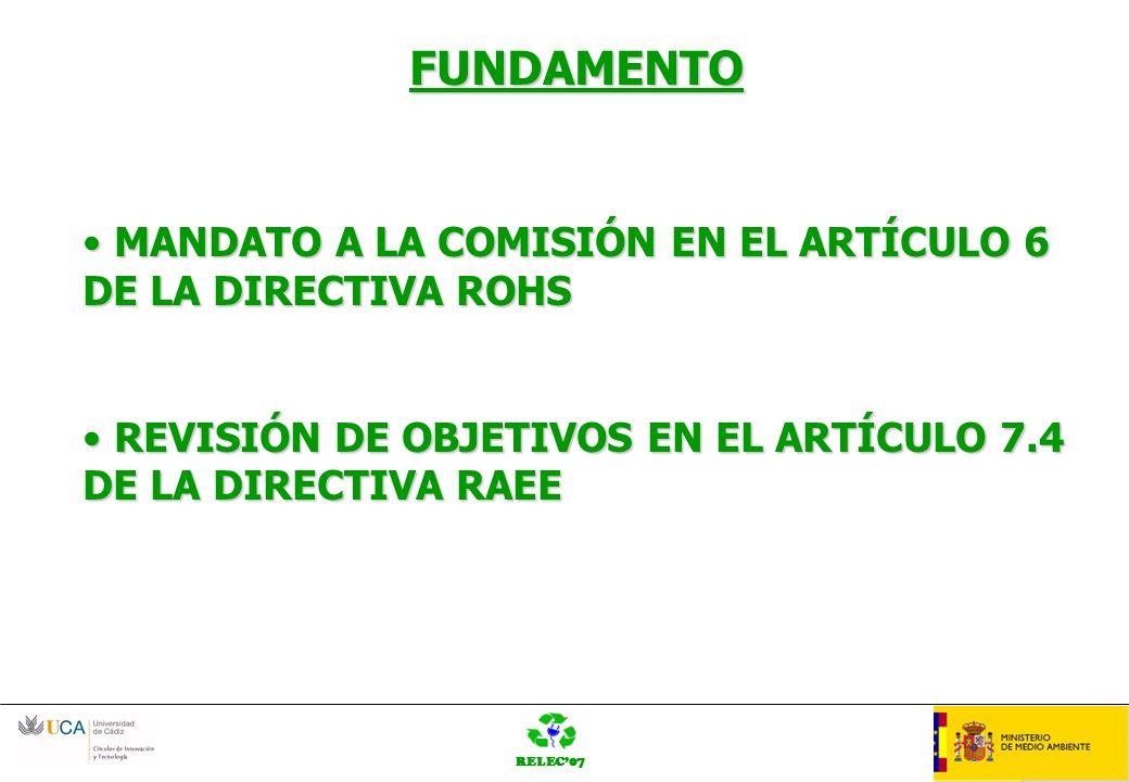 RELEC07 OrganziaciónLOGO FUNDAMENTO MANDATO A LA COMISIÓN EN EL ARTÍCULO 6 DE LA DIRECTIVA ROHS MANDATO A LA COMISIÓN EN EL ARTÍCULO 6 DE LA DIRECTIVA ROHS REVISIÓN DE OBJETIVOS EN EL ARTÍCULO 7.4 DE LA DIRECTIVA RAEE REVISIÓN DE OBJETIVOS EN EL ARTÍCULO 7.4 DE LA DIRECTIVA RAEE