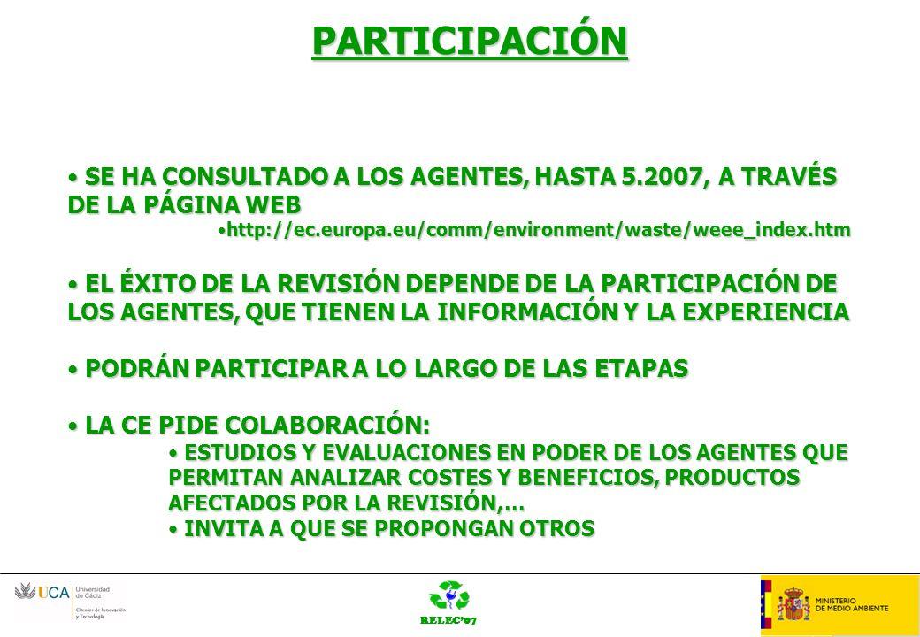 RELEC07 OrganziaciónLOGO PARTICIPACIÓN SE HA CONSULTADO A LOS AGENTES, HASTA 5.2007, A TRAVÉS DE LA PÁGINA WEB SE HA CONSULTADO A LOS AGENTES, HASTA 5.2007, A TRAVÉS DE LA PÁGINA WEB http://ec.europa.eu/comm/environment/waste/weee_index.htmhttp://ec.europa.eu/comm/environment/waste/weee_index.htm EL ÉXITO DE LA REVISIÓN DEPENDE DE LA PARTICIPACIÓN DE LOS AGENTES, QUE TIENEN LA INFORMACIÓN Y LA EXPERIENCIA EL ÉXITO DE LA REVISIÓN DEPENDE DE LA PARTICIPACIÓN DE LOS AGENTES, QUE TIENEN LA INFORMACIÓN Y LA EXPERIENCIA PODRÁN PARTICIPAR A LO LARGO DE LAS ETAPAS PODRÁN PARTICIPAR A LO LARGO DE LAS ETAPAS LA CE PIDE COLABORACIÓN: LA CE PIDE COLABORACIÓN: ESTUDIOS Y EVALUACIONES EN PODER DE LOS AGENTES QUE PERMITAN ANALIZAR COSTES Y BENEFICIOS, PRODUCTOS AFECTADOS POR LA REVISIÓN,...