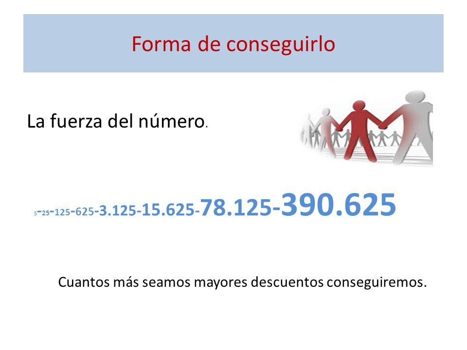 Forma de conseguirlo 5 - 25 - 125 - 625 -3.125- 15.625 - 78.125 - 390.625 La fuerza del número. Cuantos más seamos mayores descuentos conseguiremos.