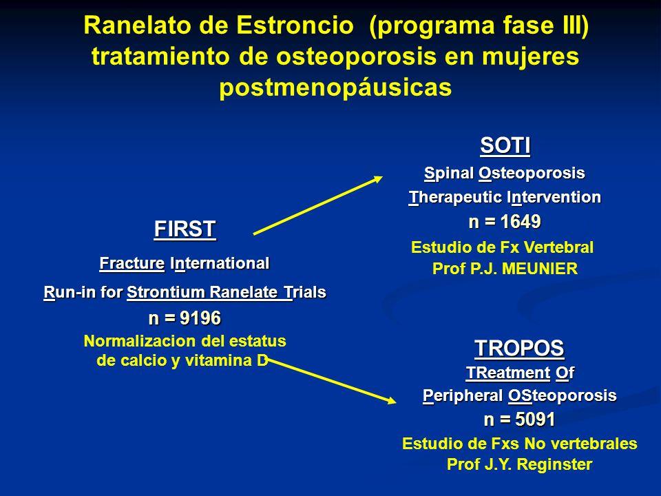 FIRST Fracture International Run-in for Strontium Ranelate Trials n = 9196 Normalizacion del estatus de calcio y vitamina D SOTI Spinal Osteoporosis Therapeutic Intervention n = 1649 Estudio de Fx Vertebral Prof P.J.
