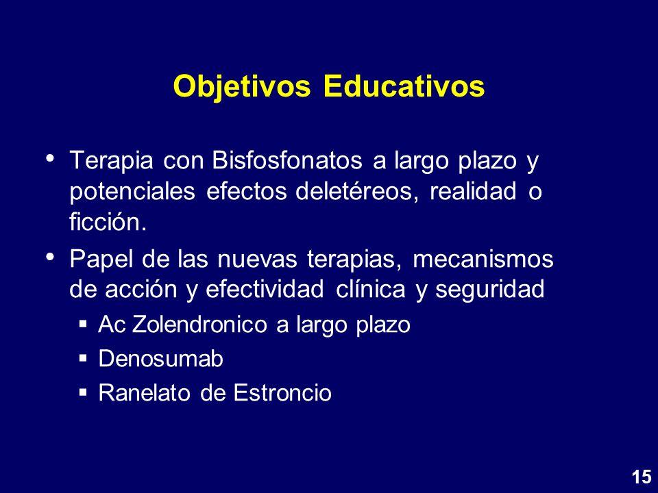 Objetivos Educativos Terapia con Bisfosfonatos a largo plazo y potenciales efectos deletéreos, realidad o ficción. Papel de las nuevas terapias, mecan