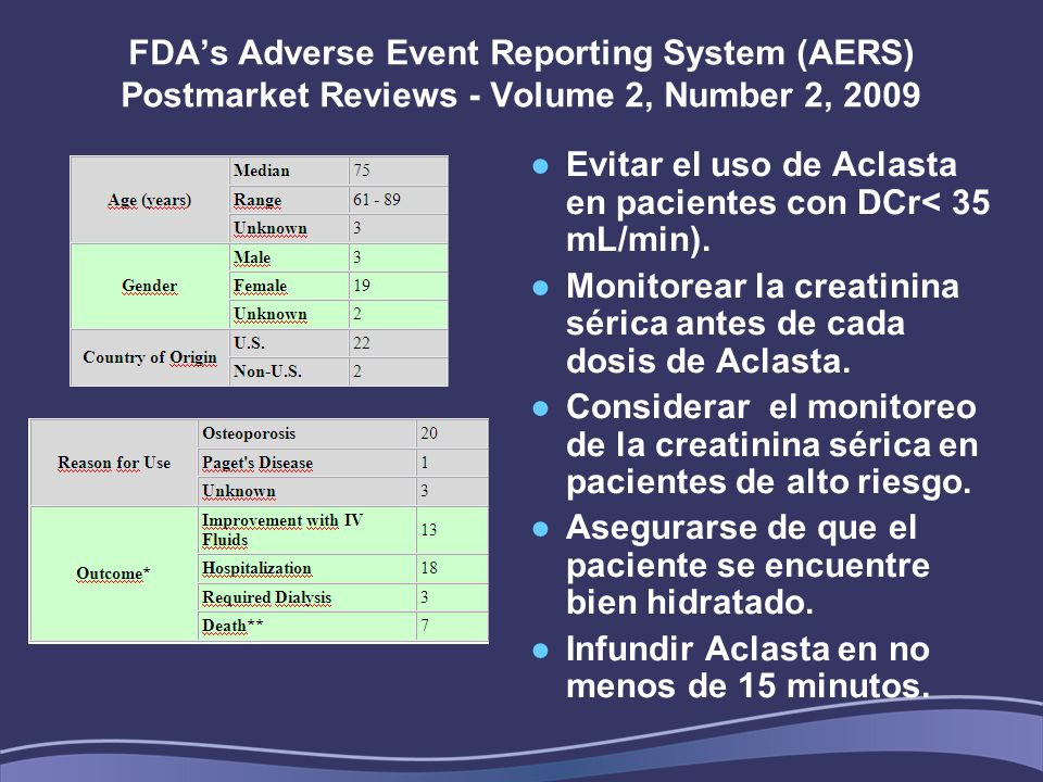 FDAs Adverse Event Reporting System (AERS) Postmarket Reviews - Volume 2, Number 2, 2009 Evitar el uso de Aclasta en pacientes con DCr< 35 mL/min). Mo