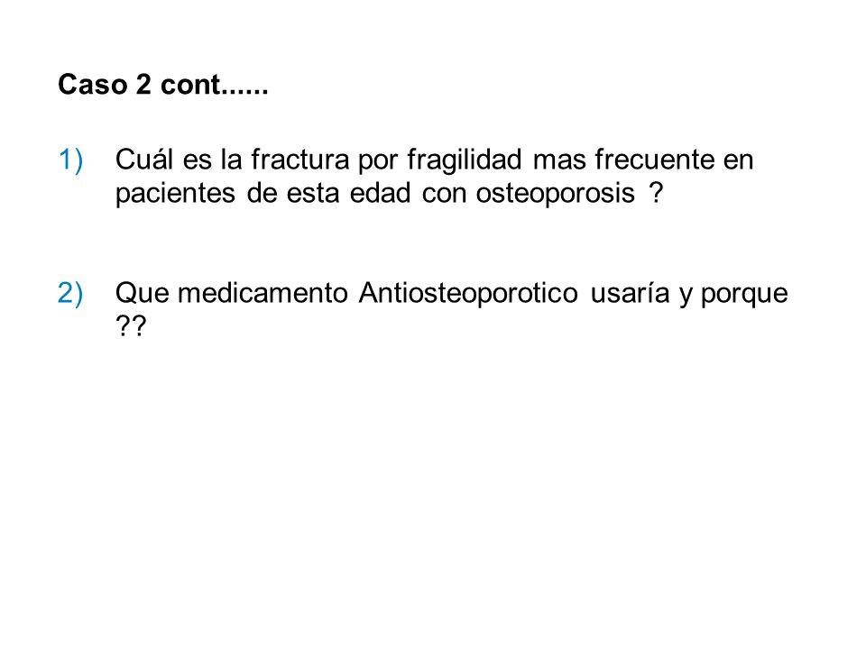 Caso 2 cont...... 1)Cuál es la fractura por fragilidad mas frecuente en pacientes de esta edad con osteoporosis ? 2)Que medicamento Antiosteoporotico