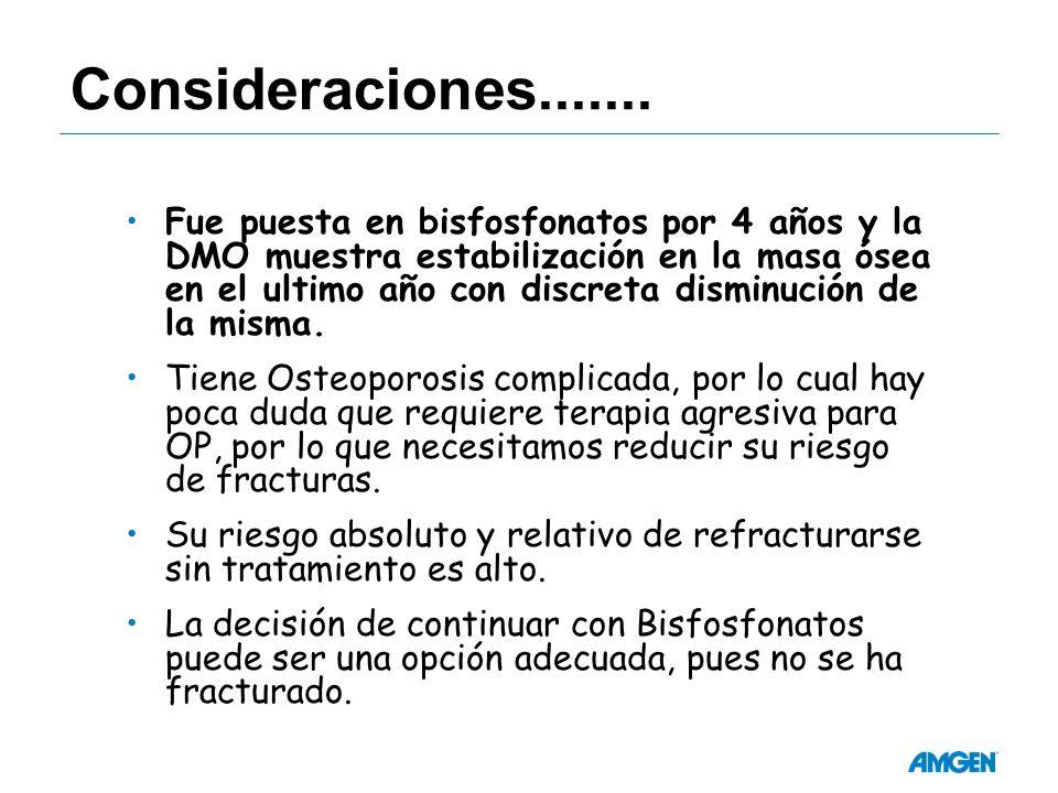 Consideraciones....... Fue puesta en bisfosfonatos por 4 años y la DMO muestra estabilización en la masa ósea en el ultimo año con discreta disminució