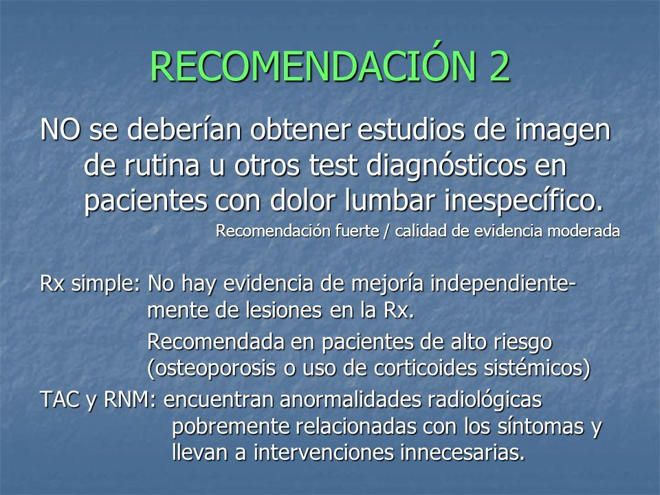 RECOMENDACIÓN 2 NO se deberían obtener estudios de imagen de rutina u otros test diagnósticos en pacientes con dolor lumbar inespecífico. Recomendació