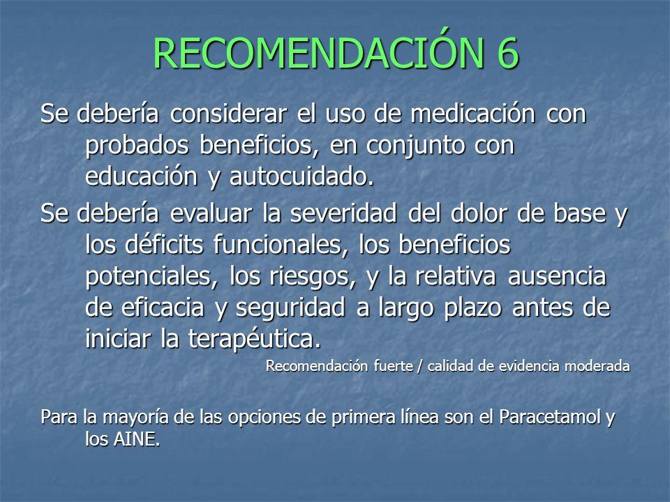 RECOMENDACIÓN 6 Se debería considerar el uso de medicación con probados beneficios, en conjunto con educación y autocuidado. Se debería evaluar la sev