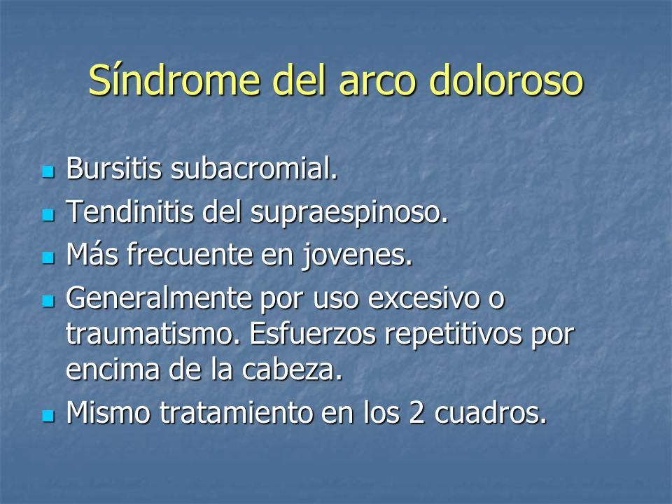 Síndrome del arco doloroso Bursitis subacromial. Bursitis subacromial. Tendinitis del supraespinoso. Tendinitis del supraespinoso. Más frecuente en jo