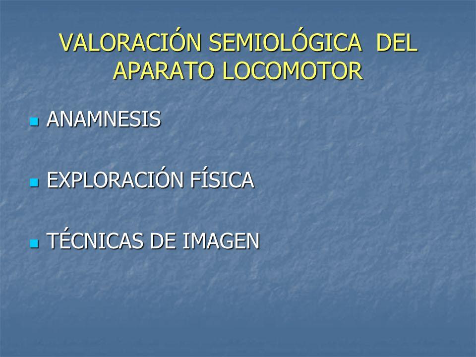 VALORACIÓN SEMIOLÓGICA DEL APARATO LOCOMOTOR ANAMNESIS ANAMNESIS EXPLORACIÓN FÍSICA EXPLORACIÓN FÍSICA TÉCNICAS DE IMAGEN TÉCNICAS DE IMAGEN