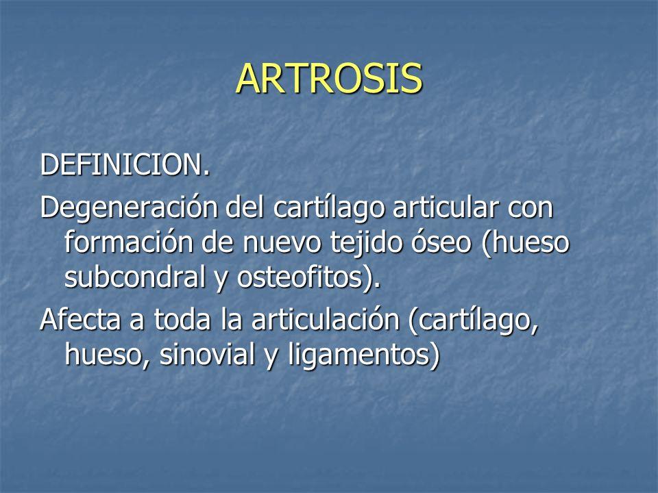 ARTROSIS DEFINICION. Degeneración del cartílago articular con formación de nuevo tejido óseo (hueso subcondral y osteofitos). Afecta a toda la articul