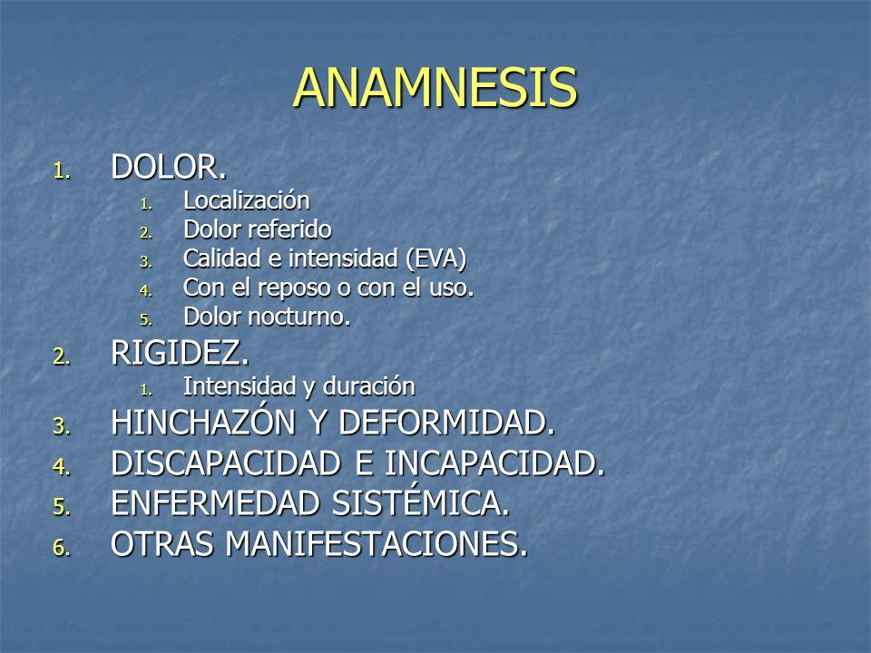 ANAMNESIS 1. DOLOR. 1. Localización 2. Dolor referido 3. Calidad e intensidad (EVA) 4. Con el reposo o con el uso. 5. Dolor nocturno. 2. RIGIDEZ. 1. I