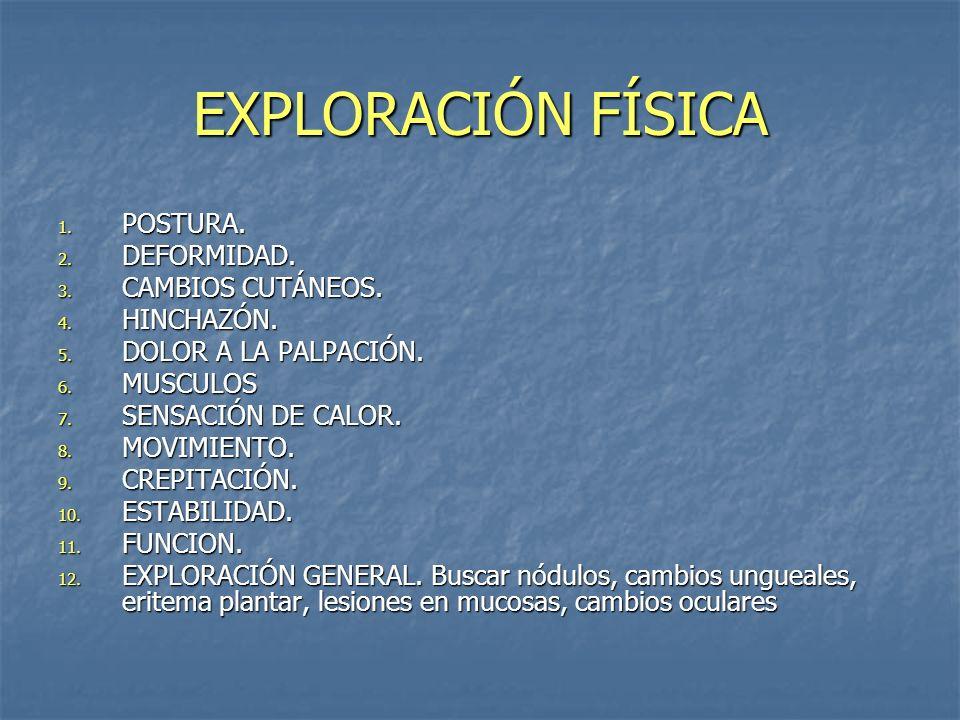 EXPLORACIÓN FÍSICA 1. POSTURA. 2. DEFORMIDAD. 3. CAMBIOS CUTÁNEOS. 4. HINCHAZÓN. 5. DOLOR A LA PALPACIÓN. 6. MUSCULOS 7. SENSACIÓN DE CALOR. 8. MOVIMI