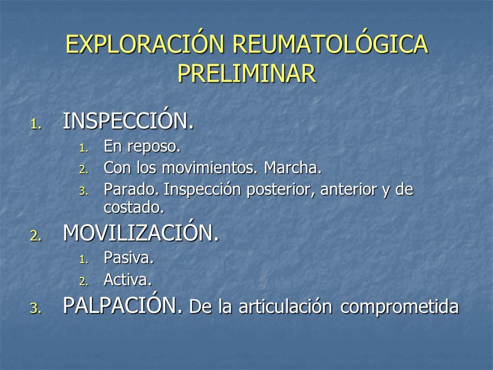 EXPLORACIÓN REUMATOLÓGICA PRELIMINAR 1. INSPECCIÓN. 1. En reposo. 2. Con los movimientos. Marcha. 3. Parado. Inspección posterior, anterior y de costa