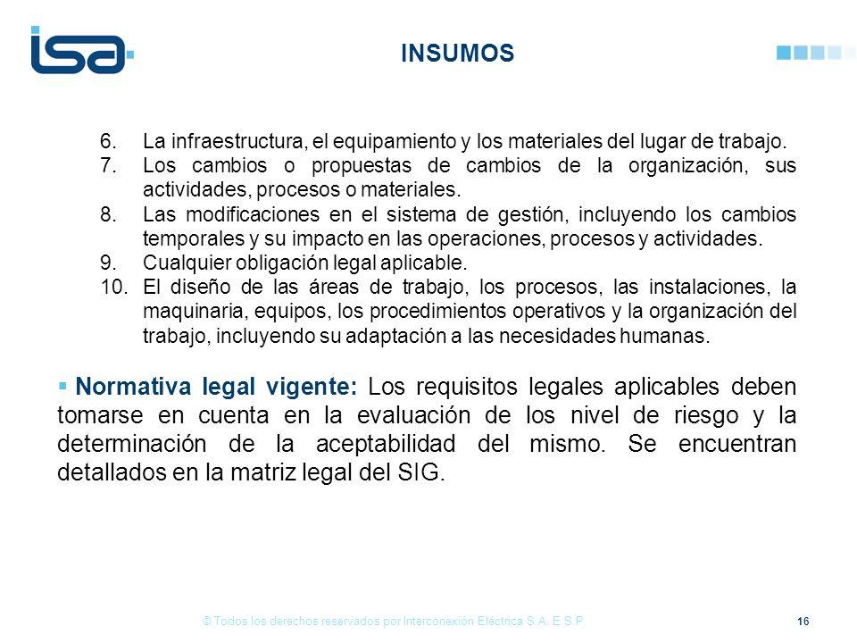 16 © Todos los derechos reservados por Interconexión Eléctrica S.A. E.S.P. 6.La infraestructura, el equipamiento y los materiales del lugar de trabajo