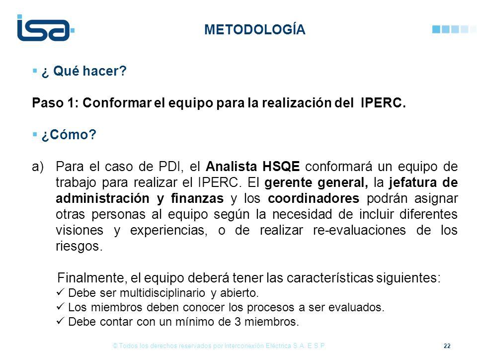 22 © Todos los derechos reservados por Interconexión Eléctrica S.A. E.S.P. ¿ Qué hacer? Paso 1: Conformar el equipo para la realización del IPERC. ¿Có