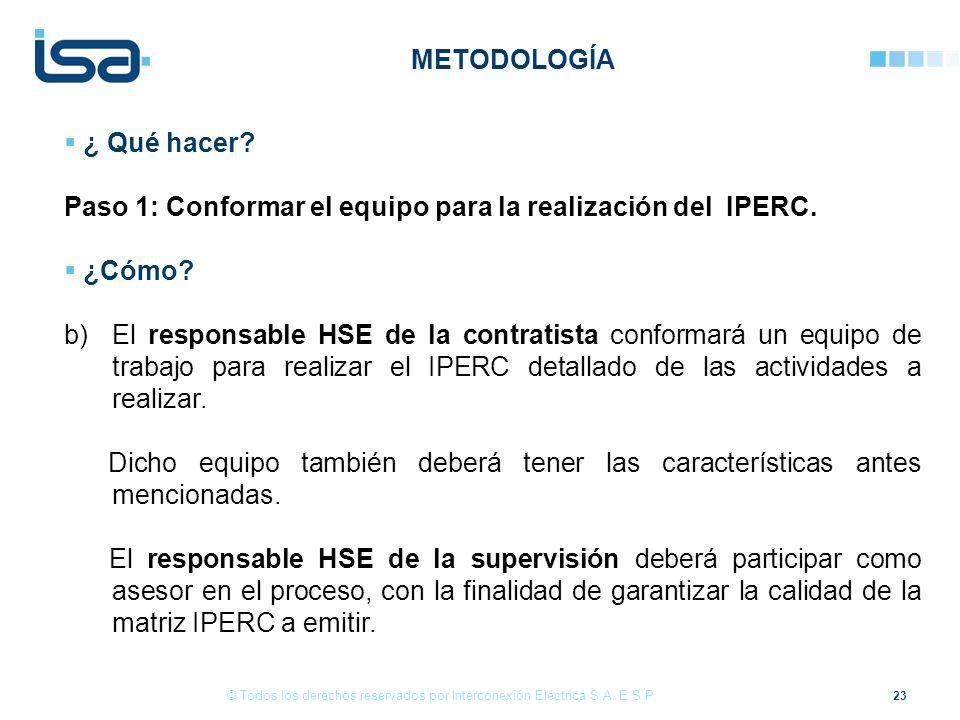 23 © Todos los derechos reservados por Interconexión Eléctrica S.A. E.S.P. ¿ Qué hacer? Paso 1: Conformar el equipo para la realización del IPERC. ¿Có