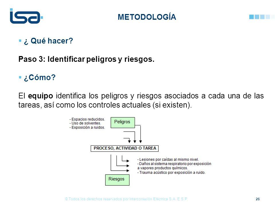 26 © Todos los derechos reservados por Interconexión Eléctrica S.A. E.S.P. ¿ Qué hacer? Paso 3: Identificar peligros y riesgos. ¿Cómo? El equipo ident