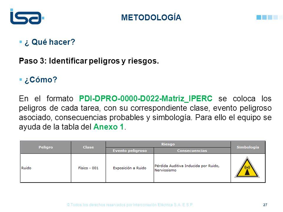 27 © Todos los derechos reservados por Interconexión Eléctrica S.A. E.S.P. ¿ Qué hacer? Paso 3: Identificar peligros y riesgos. ¿Cómo? En el formato P