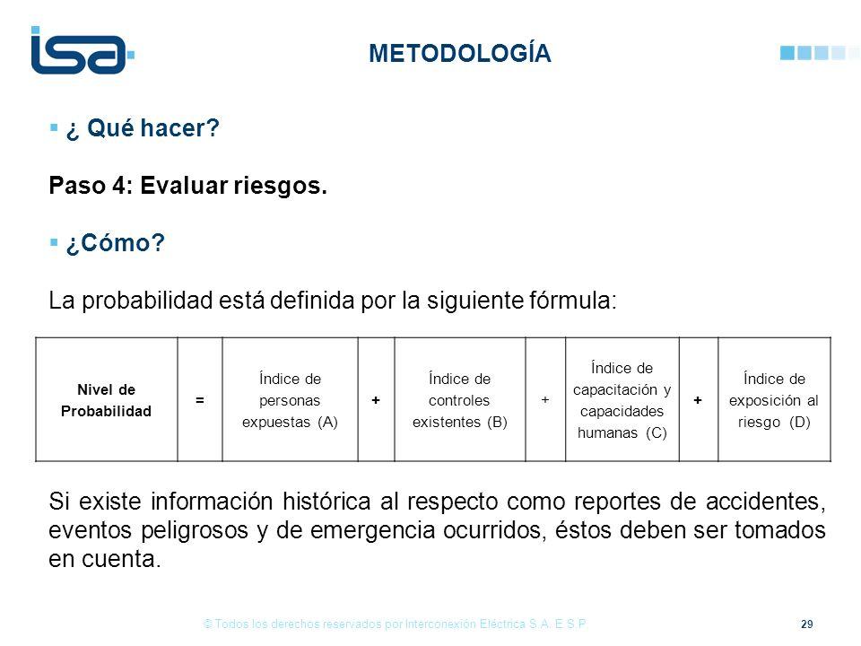 29 © Todos los derechos reservados por Interconexión Eléctrica S.A. E.S.P. ¿ Qué hacer? Paso 4: Evaluar riesgos. ¿Cómo? La probabilidad está definida