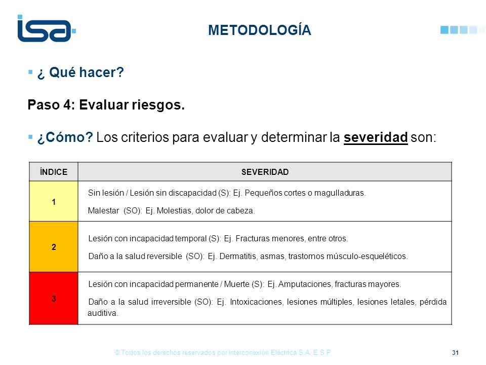 31 © Todos los derechos reservados por Interconexión Eléctrica S.A. E.S.P. ¿ Qué hacer? Paso 4: Evaluar riesgos. ¿Cómo? Los criterios para evaluar y d
