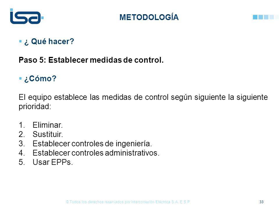 33 © Todos los derechos reservados por Interconexión Eléctrica S.A. E.S.P. ¿ Qué hacer? Paso 5: Establecer medidas de control. ¿Cómo? El equipo establ