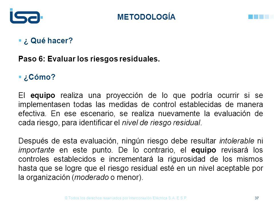 37 © Todos los derechos reservados por Interconexión Eléctrica S.A. E.S.P. ¿ Qué hacer? Paso 6: Evaluar los riesgos residuales. ¿Cómo? El equipo reali