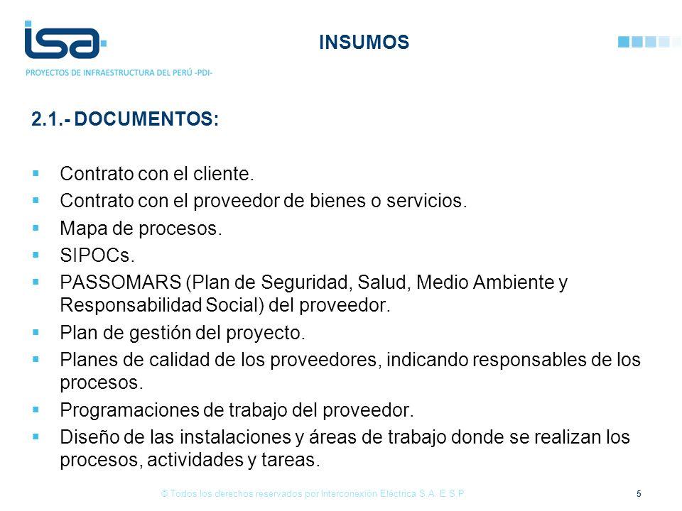 INSUMOS 2.1.- DOCUMENTOS: Contrato con el cliente. Contrato con el proveedor de bienes o servicios. Mapa de procesos. SIPOCs. PASSOMARS (Plan de Segur